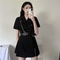 Dress Summer 2020 Small black skirt with belt S,M,L Short skirt singleton  Short sleeve street tailored collar High waist Solid color double-breasted routine 18-24 years old 9038# 31% (inclusive) - 50% (inclusive) polyester fiber Punk