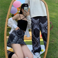 Casual pants White skirt, black skirt, white trousers, black trousers S,M,L Summer 2021 trousers Wide leg pants High waist street routine 18-24 years old 96% and above polyester fiber pocket cotton neutral