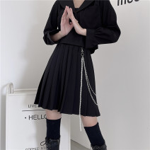 skirt Spring 2021 S,M,L,XL Gray, black Short skirt street High waist Pleated skirt Solid color Type A 18-24 years old Lin Shuo Shuo's family chain