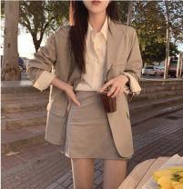 Fashion suit Autumn 2020 S,M,L,XL Dark grey suit + skirt suit, khaki suit + skirt suit 18-25 years old 96% and above nylon