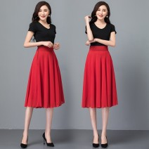 skirt Summer 2021 S. M, l, XL, 2XL, custom shot Middle-skirt Versatile High waist A-line skirt Solid color Type A 30-34 years old 91% (inclusive) - 95% (inclusive) Chiffon other Ruffles, zippers