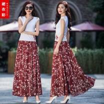 skirt Summer 2021 S. M, l, XL, 2XL, custom shot longuette commute High waist Ruffle Skirt Broken flowers Type A 40-49 years old 91% (inclusive) - 95% (inclusive) Chiffon Ruffle, print Simplicity