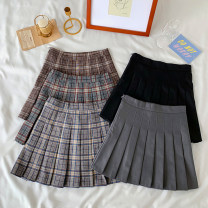 skirt Autumn 2020 S,M,L Blue, green, pure black, pure gray, coffee Short skirt Sweet High waist A-line skirt lattice Type A 18-24 years old 30% and below other college