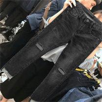 Women's large Spring 2021 Regular split, blue, 3235, blue, 3235, black, 3235, black, 3235 M [85-100 Jin], l [100-120 Jin], XL [120-140 Jin], 2XL [140-160 Jin], 3XL [160-180 Jin], 4XL [180-200 Jin] trousers singleton  commute Self cultivation moderate Solid color Korean version C Jingqianni hole