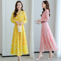 Dress Autumn 2020 Pink, blue, yellow M,L,XL,2XL,3XL Mid length dress singleton  Long sleeves commute Lotus leaf collar middle-waisted Decor Socket Big swing routine Others 25-29 years old Type A Korean version Ruffle, fold, lace up, stitching, zipper, 3D, printing 31% (inclusive) - 50% (inclusive)