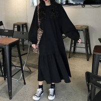 Dress Autumn 2020 M,L,XL,2XL,3XL,4XL longuette singleton  Long sleeves commute Crew neck Loose waist Solid color Socket A-line skirt routine 18-24 years old Type A Korean version 30% and below other cotton