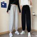 Casual pants Grey, black, black [Plush], grey [Plush] XL,2XL,3XL,4XL,5XL,6XL Spring 2021 trousers Haren pants High waist commute routine 18-24 years old 30% and below cotton Korean version pocket cotton Asymmetry