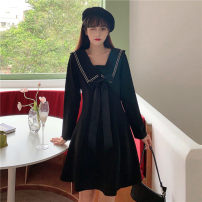 Women's large Autumn 2020 Black long sleeve M (80-100), l (100-120), XL (120-140), 2XL (140-160), 3XL (160-180), 4XL (180-200) Dress singleton  Sweet Self cultivation moderate Socket Long sleeves Solid color Admiral Medium length polyester Three dimensional cutting routine 18-24 years old Short skirt
