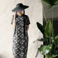 Dress Summer 2020 Black and white printing XS,S,M,L Mid length dress singleton  Short sleeve commute stand collar Loose waist Decor Single breasted other Type H New leaf collection literature Double layer cotton yarn 21181110-1 51% (inclusive) - 70% (inclusive) cotton