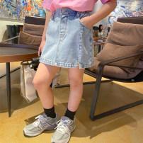skirt 100cm,110cm,120cm,130cm,140cm,150cm,160cm blue Other / other female Cotton 95% polyurethane elastic fiber (spandex) 5% summer skirt Korean version Solid color A-line skirt cotton Class B