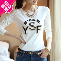 T-shirt S,M,L,XL,2XL,3XL Fall 2017 Long sleeves Crew neck Self cultivation have cash less than that is registered in the accounts routine commute cotton 96% and above 18-24 years old Korean version originality Letters, solid color