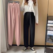 Women's large Spring 2021 Black, pink Large size L [100-120 Jin recommended], large XL [120-140 Jin recommended], large 2XL [140-160 Jin recommended], large 3XL [160-180 Jin recommended], large 4XL [180-200 Jin recommended] trousers singleton  commute easy moderate Korean version Ninth pants