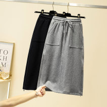 Women's large Winter 2020, autumn 2020 Gray, black Large L, large XL, large XXL, large XXL, large XXXL skirt singleton  commute Straight cylinder moderate Conjoined Solid color Korean version other Three dimensional cutting 25-29 years old pocket 51% (inclusive) - 70% (inclusive) Medium length