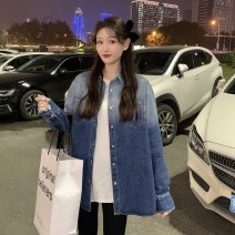Women's large Spring 2021 Gradients XL [recommendation 90-120], 2XL [recommendation 120-140], 3XL [recommendation 140-160] Jacket / jacket singleton  commute moderate Cardigan Long sleeves Korean version Polo collar Medium length Three dimensional cutting routine 18-24 years old
