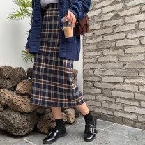 Women's large Autumn of 2019 Skirts, sweaters, suits M (100-110kg), l (110-120kg), XL (120-135kg), XXL (140-155kg), 3XL (160-175kg), 4XL (175-200kg) Other oversize styles Two piece set commute easy thick Cardigan Long sleeves lattice Korean version High collar Medium length Cotton, acrylic routine