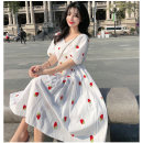 Women's large Summer 2020, spring 2020 Decor Large XL, large XXL, large XXL, large XXXXL, large XXXXL Dress singleton  commute easy moderate Socket Short sleeve Korean version V-neck Medium length cotton 18-24 years old 71% (inclusive) - 80% (inclusive)