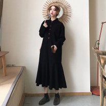 Women's large Winter of 2019, autumn of 2019 black Large XL, large XXL, large XXL, large XXXXL, large L Dress singleton  commute easy Socket Long sleeves Korean version routine longuette