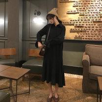Women's large Winter 2019, spring 2019, autumn 2019 black M (80-100kg), l (100-120kg), XL (120-140kg), 2XL (140-160kg), 3XL (160-180kg), 4XL (180-200kg) Dress singleton  commute easy moderate Socket Long sleeves Solid color Korean version polyester fiber Medium length