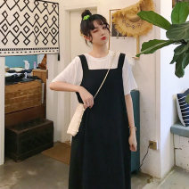 Women's large Summer 2020 White T + black skirt, black T + red skirt L (80-100), XL (100-120), 2XL (120-140), 3XL (140-160), 4XL (160-180) Dress Two piece set commute easy Socket Korean version Sha-9885# 18-24 years old longuette