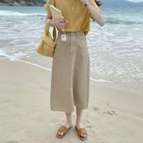 skirt Spring 2021 S,M,L khaki Mid length dress commute High waist Denim skirt Solid color Korean version