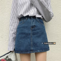skirt Spring 2021 S,M,L Black, blue Short skirt commute High waist A-line skirt Solid color Type A 18-24 years old Other / other Pocket, button, zipper Korean version