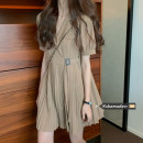Dress Summer 2021 Khaki, black Average size Short skirt singleton  Short sleeve commute Polo collar High waist Solid color other Pleated skirt routine 18-24 years old Type A Korean version 5223#