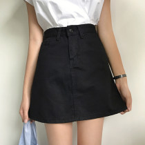 skirt Summer of 2018 S M L Pink Army Green White Black Short skirt commute High waist A-line skirt Solid color Type A 18-24 years old six thousand two hundred and sixty-seven More than 95% cotton Korean version