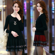 Dress Autumn of 2019 Black, red S,M,L,XL,2XL,3XL Mid length dress Fake two pieces Long sleeves commute Crew neck Loose waist Solid color Socket Princess Dress puff sleeve Others Type A Korean version 51% (inclusive) - 70% (inclusive) knitting other