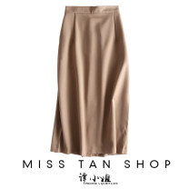 skirt Spring 2021 S,M,L Camel, black Mid length dress commute High waist skirt Solid color 30-34 years old 31% (inclusive) - 50% (inclusive) other Other / other cotton Splicing Ol style