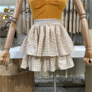 skirt Spring 2021 Average size Apricot, black Short skirt commute High waist A-line skirt lattice Type A 18-24 years old 31% (inclusive) - 50% (inclusive) First Sight