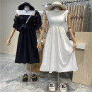 Dress Summer 2021 White, black Average size Mid length dress singleton  Sleeveless commute High waist Solid color Socket A-line skirt 18-24 years old Type A First Sight 31% (inclusive) - 50% (inclusive)