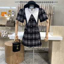 Dress Summer 2021 black M, L Mid length dress singleton  Short sleeve commute High waist lattice Single breasted A-line skirt puff sleeve 18-24 years old Type A First Sight 31% (inclusive) - 50% (inclusive)