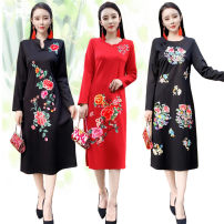Dress Spring 2021 XL,2XL,3XL,4XL,5XL Mid length dress singleton  Long sleeves commute Crew neck middle-waisted Socket A-line skirt routine Type A ethnic style Embroidery 51% (inclusive) - 70% (inclusive) cotton