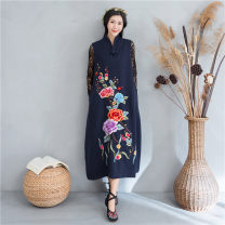 Dress Autumn 2020 L,XL,2XL Mid length dress singleton  Sleeveless commute V-neck middle-waisted A button A-line skirt routine Type A ethnic style Embroidery, buttons 51% (inclusive) - 70% (inclusive) knitting cotton