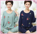 Pajamas / housewear set female Other / other 4XL [135-155 Jin], XXXL [120-135 Jin], XXL [105-120 Jin], XL [85-105 Jin] Red background, green leaves and safflower [long sleeve], blue background, green leaves and safflower [long sleeve], green space, green leaves and safflower [long sleeve] viscose