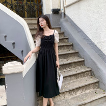 Dress Summer 2021 black S,M,L longuette singleton  Long sleeves Sweet square neck High waist Solid color zipper Big swing puff sleeve 25-29 years old Type H Deng Liuliu Pleating, pleating, stitching, thread, bandage, zipper, lace More than 95% polyester fiber