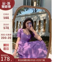 Dress Summer 2021 violet S,M,L longuette singleton  Short sleeve commute square neck High waist Solid color zipper Big swing puff sleeve Others 25-29 years old Type X Travel together Auricularia auricula, stitching, zipper cotton