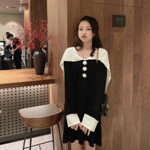 Dress Autumn 2020 Black, blue Average size Short skirt singleton  Long sleeves commute Admiral Loose waist Solid color Socket other routine Others 18-24 years old Type H Yumomo Korean version Splicing 200914-3471 51% (inclusive) - 70% (inclusive) knitting