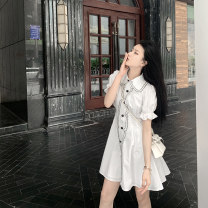 Dress Summer 2021 white S,M,L,XL,2XL,3XL Short skirt singleton  Short sleeve commute Polo collar High waist Solid color Single breasted A-line skirt puff sleeve Others 18-24 years old Type A Other / other Korean version 31% (inclusive) - 50% (inclusive)