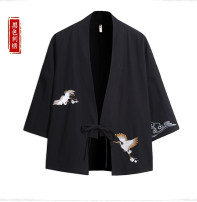 National Costume Other / other S,M,L,XL,2XL Black yellow crane, red yellow crane, black blue crane, red blue crane Hanfu Cotton 90% flax 10% autumn leisure time teenagers 2019 cotton Animal design other