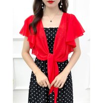 Lace / Chiffon Summer 2020 Little red coat, little white coat, little black coat M,L,XL,2XL Short sleeve Versatile Cardigan singleton  easy have cash less than that is registered in the accounts V-neck Solid color Lotus leaf sleeve 25-29 years old Te65Hb7W Frenulum 71% (inclusive) - 80% (inclusive)