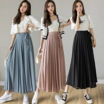 Casual pants Blue, black, pink S,M,L,XL Summer 2021 Ninth pants Wide leg pants High waist commute routine 18-24 years old 51% (inclusive) - 70% (inclusive) other Korean version