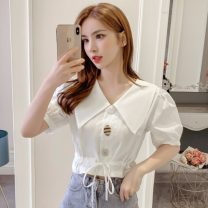 shirt White, green S,M,L,XL Summer 2021 polyester fiber 51% (inclusive) - 70% (inclusive) Short sleeve commute Short style (40cm < length ≤ 50cm) Doll Collar Socket routine Solid color 25-29 years old Self cultivation Other / other Korean version
