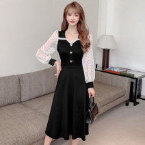 Dress Spring 2021 black S,M,L,XL,2XL Mid length dress singleton  Long sleeves commute V-neck High waist Solid color Socket A-line skirt routine Others 18-24 years old Type A Korean version Splicing 51% (inclusive) - 70% (inclusive) other other