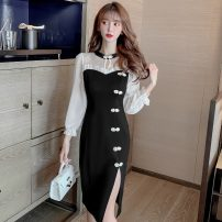 Dress Spring 2021 black S,M,L,XL,2XL Mid length dress singleton  Long sleeves commute Crew neck High waist Solid color Socket Pencil skirt routine 18-24 years old Type A Korean version 51% (inclusive) - 70% (inclusive) other other