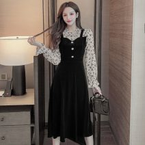 Dress Spring 2021 black S,M,L,XL,2XL Mid length dress singleton  Long sleeves commute Crew neck High waist Solid color Socket A-line skirt pagoda sleeve Others 18-24 years old Type A Korean version Splicing 51% (inclusive) - 70% (inclusive) other other