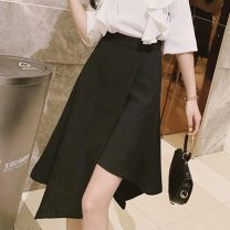 skirt Autumn 2020 S,M,L,XL,2XL black Mid length dress commute High waist Irregular Solid color Type A 18-24 years old 51% (inclusive) - 70% (inclusive) other Other / other other rivet Korean version