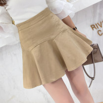 skirt Summer 2021 S,M,L,XL Khaki, white, black Short skirt commute High waist Ruffle Skirt Solid color Type A 18-24 years old 51% (inclusive) - 70% (inclusive) brocade cotton zipper Korean version 401g / m ^ 2 (inclusive) - 500g / m ^ 2 (inclusive)