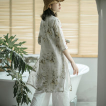 Dress Spring of 2019 Day is like a dream M,L,XL Mid length dress Fake two pieces three quarter sleeve commute V-neck Loose waist Decor Single breasted routine Type H Other / other YFYM-9001 More than 95% hemp