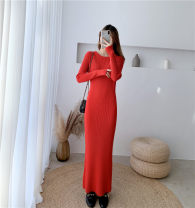 Dress Winter of 2019 longuette singleton  Long sleeves commute Crew neck Elastic waist Solid color Socket Pencil skirt routine 18-24 years old Type H Korean version 31% (inclusive) - 50% (inclusive) knitting